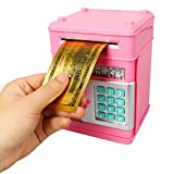 Haiabei 1 PC Elektronische Sparschwein Automatisch Mini ATM Safe Coin Cash Bank Personal ATM Cash Coin Money Sparbank Real Money Saving ATM Toy Sparbank (Rot)