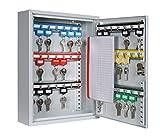 Schlüsselkasten/Schlüsselschrank 350x270x80 mm, 42 Haken, lichtgrau, inkl. Schlüsselanhänger