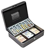 Arregui Cashier C9246-EUR Geldkassette mit Euro-Zähleinsatz und Scheineinsatz, 30 cm breit, Graphitgrau