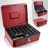 Geldkassette 30 cm groß flach abschließbar Münz Geld Zählbrett Kasse Rot 300mm x 240mm x 90mm (B/T/H)
