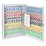 HMF 135100-07 Schlüsselschrank 100 Haken verstellbare Hakenleisten, 55,0 x 38,0 x 8,0 cm, lichtgrau