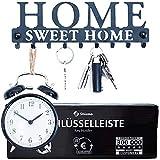 Stilemo Schlüsselbrett zum ordentlichen Aufhängen - Sparen Sie Zeit mit dem Home Sweet Home Schlüsselbrett - Vintage Schwarz - 9 Haken - 25 x 8.5cm