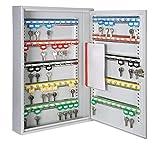 Schlüsselkasten/Schlüsselschrank 550x380x80 mm, 100 Haken, lichtgrau, inkl. Schlüsselanhänger