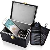 Samfolk Keyless Go Schutz Autoschlüssel Box Groß, Schlüsselbox Keyless Go Schutz Faraday Box RFID Schutz Autoschlüssel Funkschlüssel Abschirmung Box und 2 STK RFID Schlüsseltasche