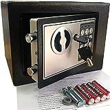 Mini-Safe Digitaler Elektronischer Tresor Sicherheitskasten Feuerfester und wasserdichter Sicherheitsschrank mit PIN-Code und Schlüssel Für Schmuck Bargeld