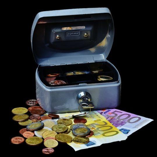 Blau Geldkassette Mini Idena 0033 125 x 95 x 60 mm